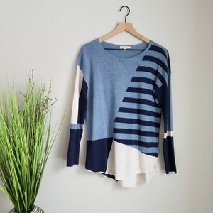 Mystree Asymmetrical Geometric Light Sweater